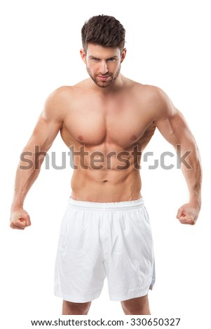 Man Flexing Muscles  - stock photo