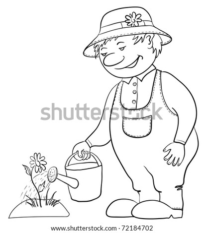 Man gardener waters a bed with a flower from a watering can, contour - stock photo