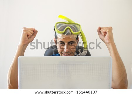 Man gets a great deal for your holiday at sea in internet - stock photo