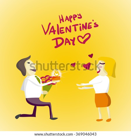 Man gets down on one knee and gives the ring woman on Valentine's Day . Flat isolated illustration - stock photo