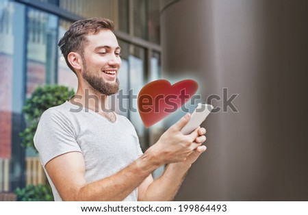 Man getting appreciated in internet - stock photo