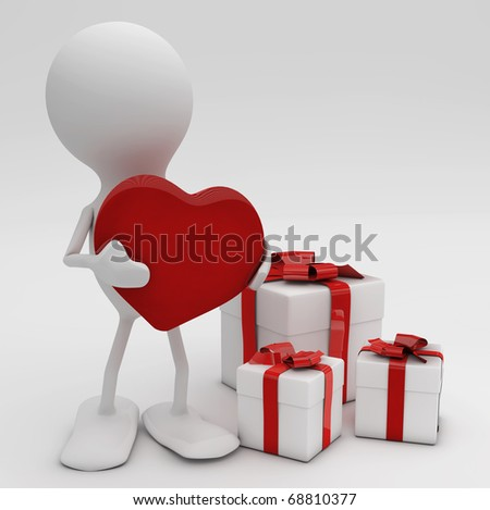 Man giving his heart. 3d rendered Celebrations concepts. - stock photo