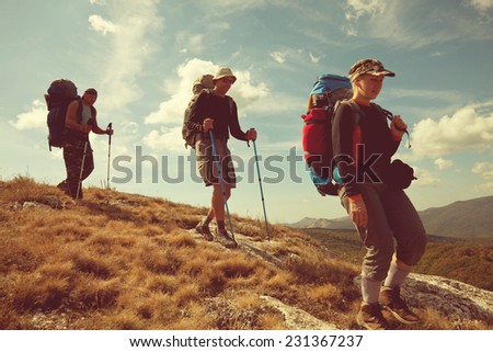 Man go in hike - stock photo