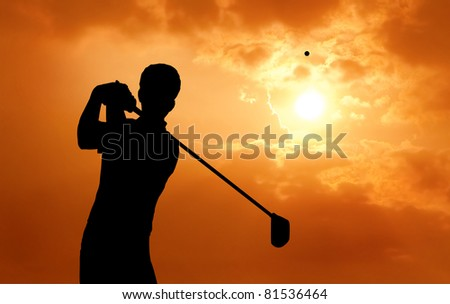 man golf player hit ball to air during sunset silhouetted - stock photo