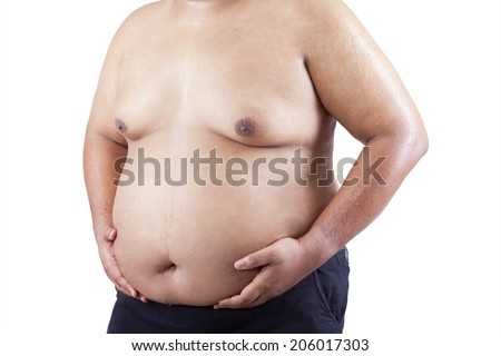 Man grabbing his fat on the stomach. isolated on white background - stock photo