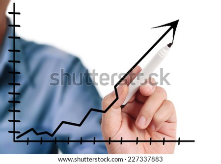 Man hand drawing a chart isolated show - stock photo