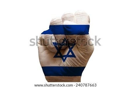 man hand fist painted country flag of israel - stock photo