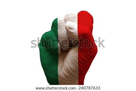 man hand fist painted country flag of italy - stock photo