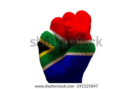 man hand fist painted country flag of south africa - stock photo