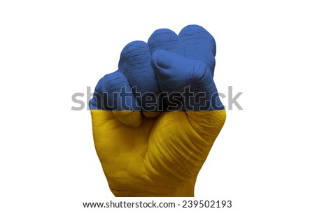 man hand fist painted country flag of ukraine - stock photo