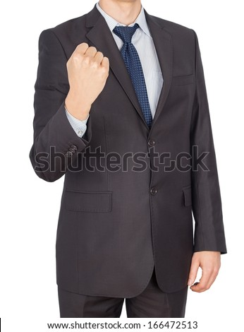 man hand fist suit Isolated on white background - stock photo