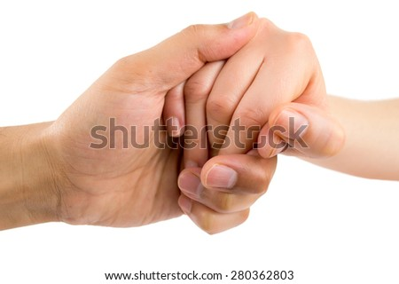 man hand giving aid to woman on white background - stock photo