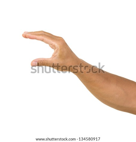 man hand hold card, isolated on white background. man hand holding empty space for your choice - stock photo