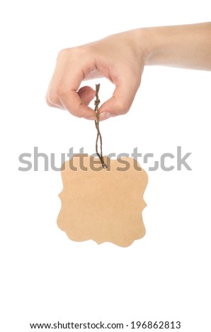 Man hand hold the card - stock photo