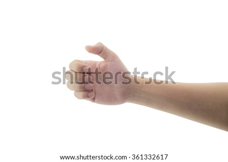 man hand hold virtual gesture, sign, symbol something on white background, clipping part - stock photo