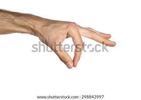 Man hand holding - stock photo