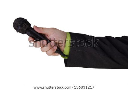 Man hand holding a microphone on white background. - stock photo