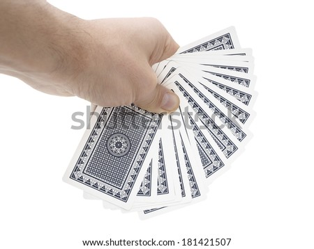 Man hand holding cards on white background with clipping path - stock photo