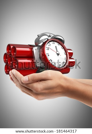 Man hand holding object ( Bomb with clock timer )  High resolution  - stock photo