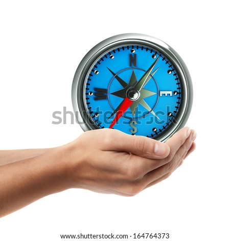 Man hand holding object ( Compass )  isolated on white background. High resolution   - stock photo