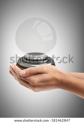 Man hand holding object ( empty crystal ball )  High resolution  - stock photo
