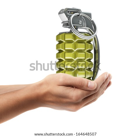 Man hand holding object ( Grenade )  isolated on white background. High resolution   - stock photo