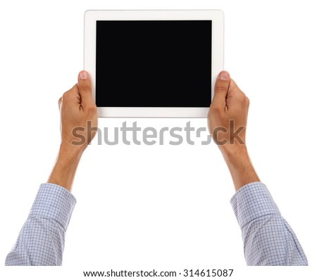 Man Hand holding tablet isolated on white background in studio  - stock photo