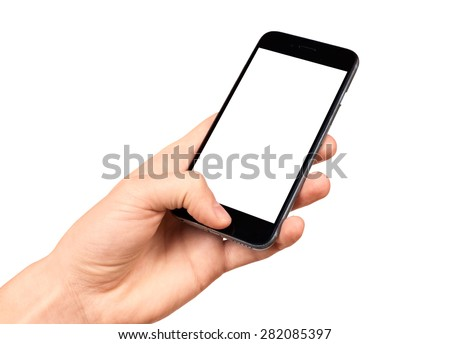 Man hand holding the black smartphone with blank screen, isolated on white background, similar to iphon 6 - stock photo