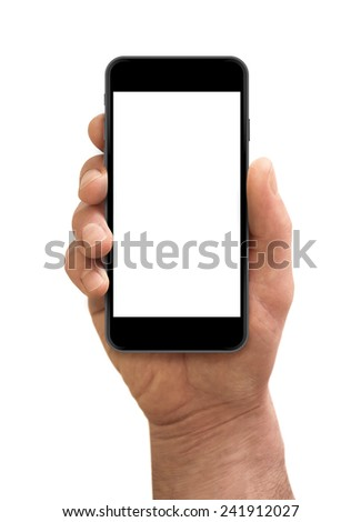 Man hand holding the smartphone with blank screen isolated on white. Iphon 6 style - stock photo