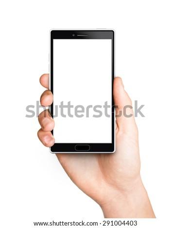 Man hand holding the white smartphone - stock photo
