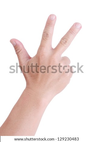 Man hand holding three fingers on a white background. - stock photo