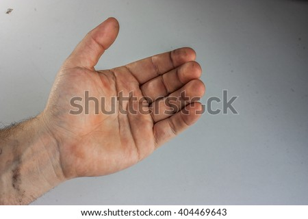 Man hand holds virtual cell phone - stock photo