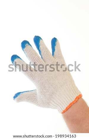 man hand in blue glove  Isolated on white background  - stock photo