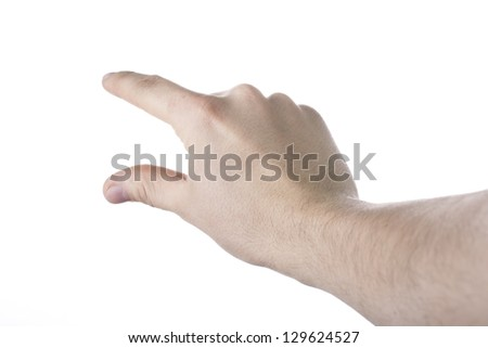 Man hand isolated on the white background - stock photo