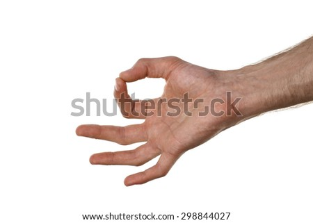 Man hand isolated on white - stock photo