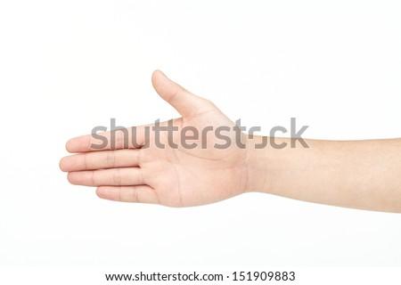 man hand isolated on white background. - stock photo