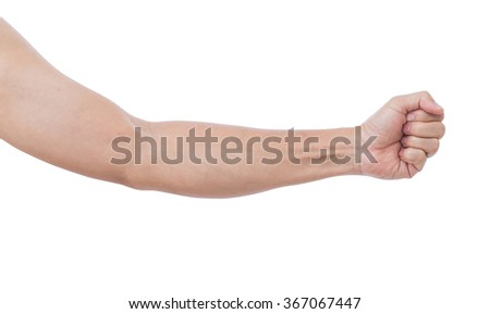 Man hand isolated on white background; clipping path - stock photo