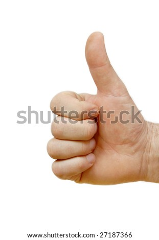 man hand isolated showing sign super by thumb up - stock photo