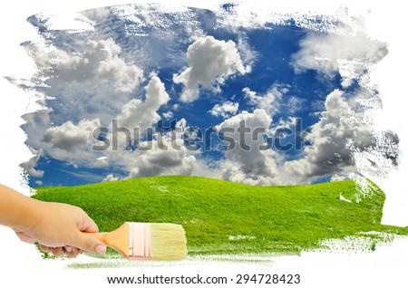 man hand paint sky - stock photo