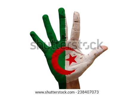 man hand palm painted flag of algeria - stock photo
