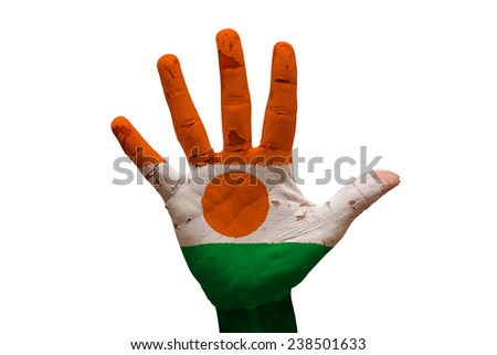 man hand palm painted flag of niger - stock photo