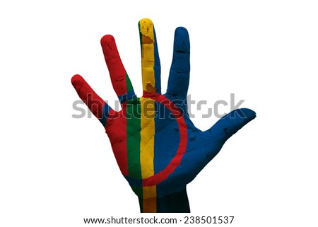 man hand palm painted flag of sami people - stock photo