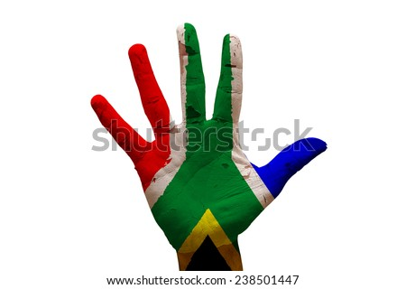 man hand palm painted flag of south africa - stock photo