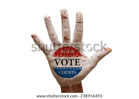 man hand palm painted your vote counts symbol - stock photo
