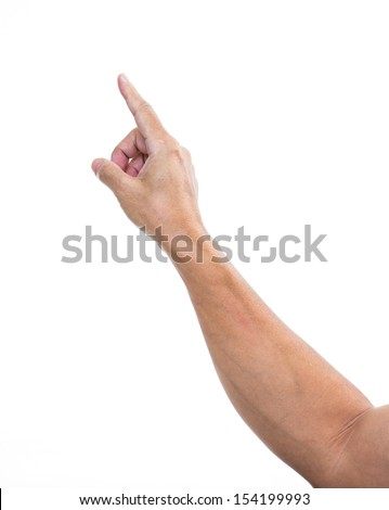 Man hand pointing or touching  isolated on white  - stock photo