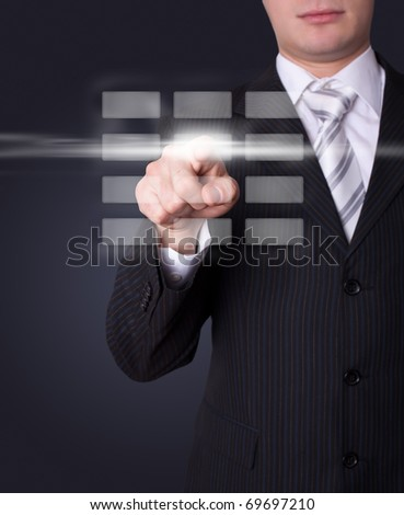 Man hand pressing digital buttons - stock photo