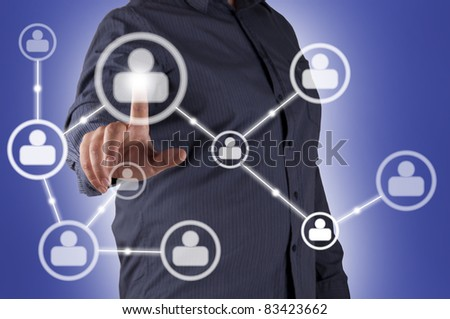 man hand pressing Social Network icon, for business illustration - stock photo