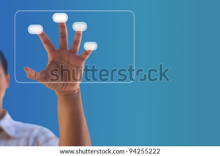 Man hand pressing touch screen button - stock photo