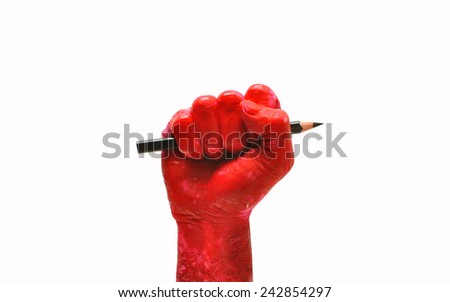 man hand raised fist with pencil freedom of speech symbol - stock photo