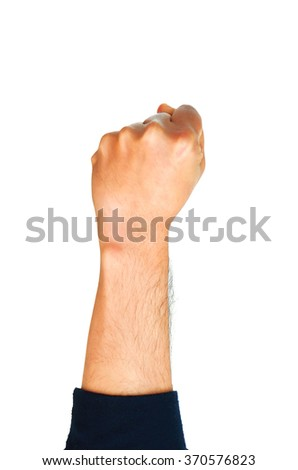 Man hand showing fist isolated on white background. - stock photo